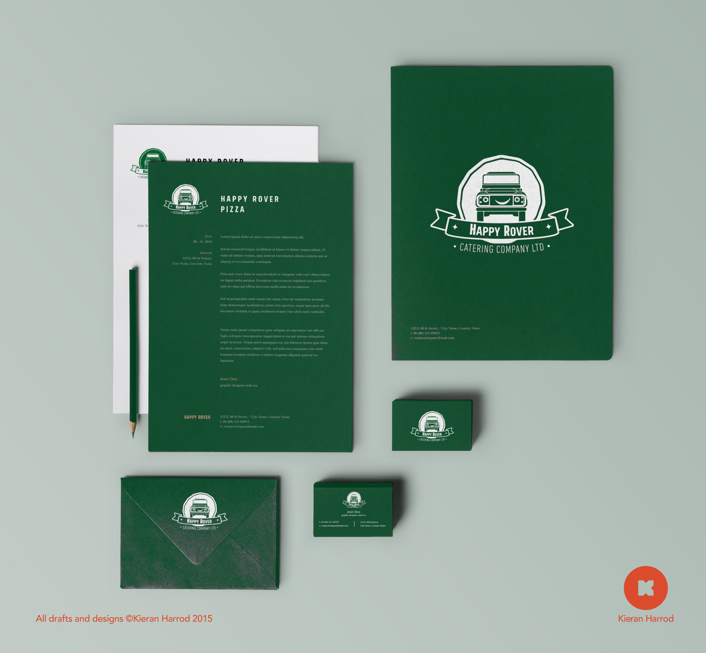 Happy Rover Pizza Stationary Mockup
