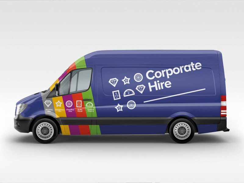 Corporate Hire Branding on Van