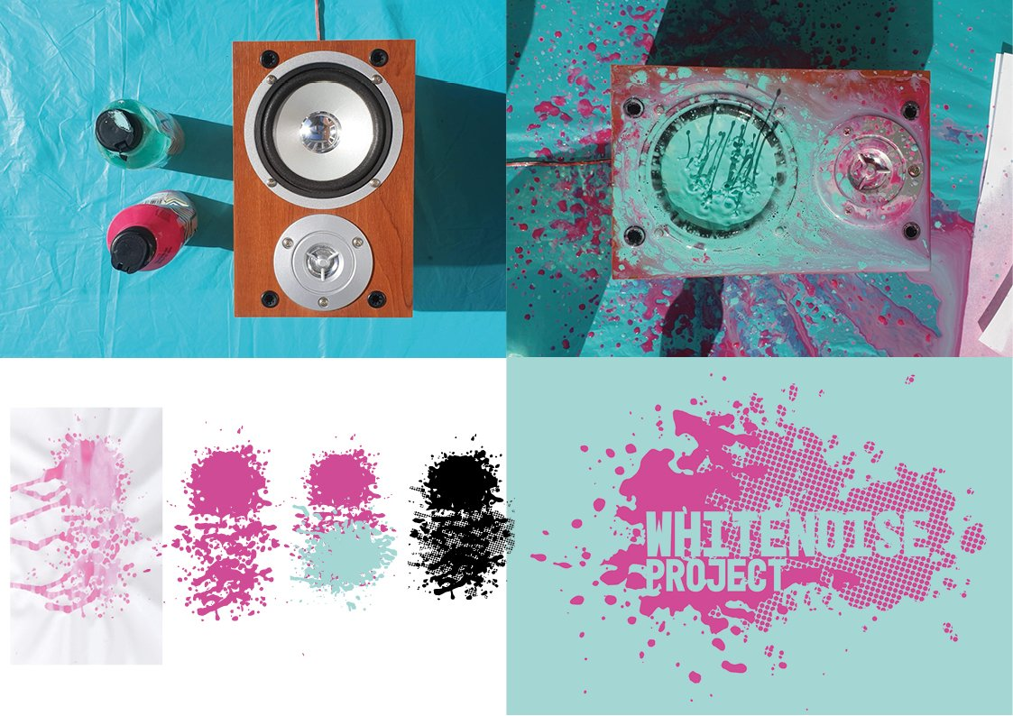 A series of 4 images showing a wooden framed speaker beside some paint tubes, the same speaker fwith paint in the subwoofer and seen leaping out with pink and blue splashes all about, the process of turning the paint splashes into a logo and the final logo featuring two overlaid splashes, one with a halftone effect with the brand Whitenoise Project over the top.