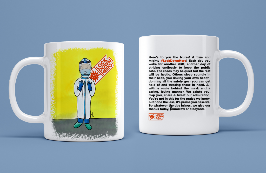 Illustration of a Nurse in full Covid-19 PPE gear on a mug.